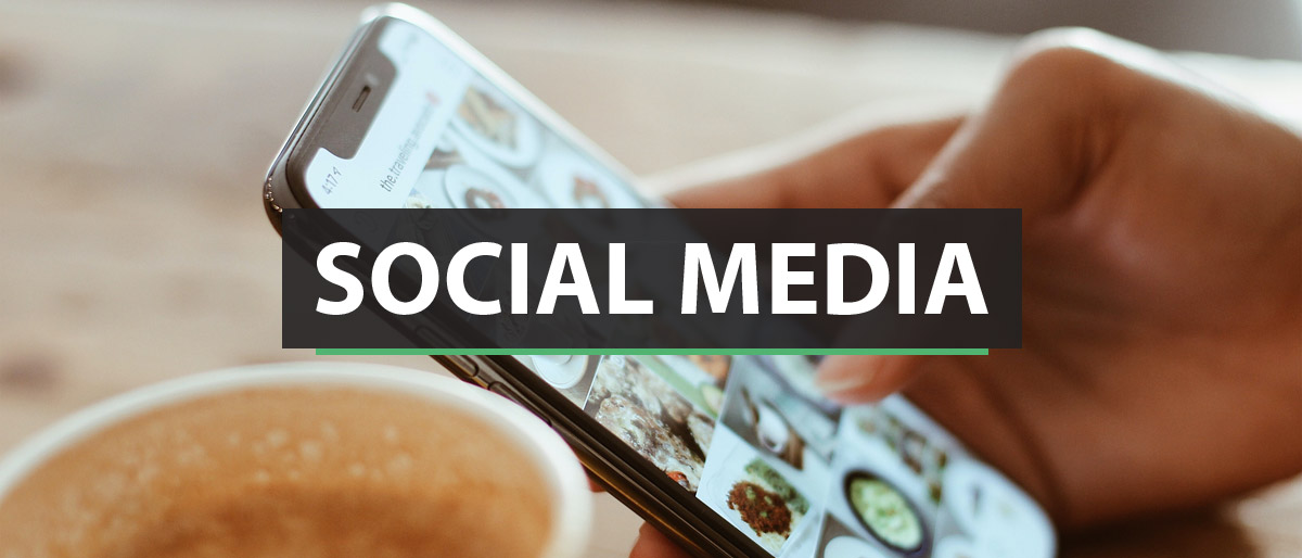 Social Media Marketing with iPhone background